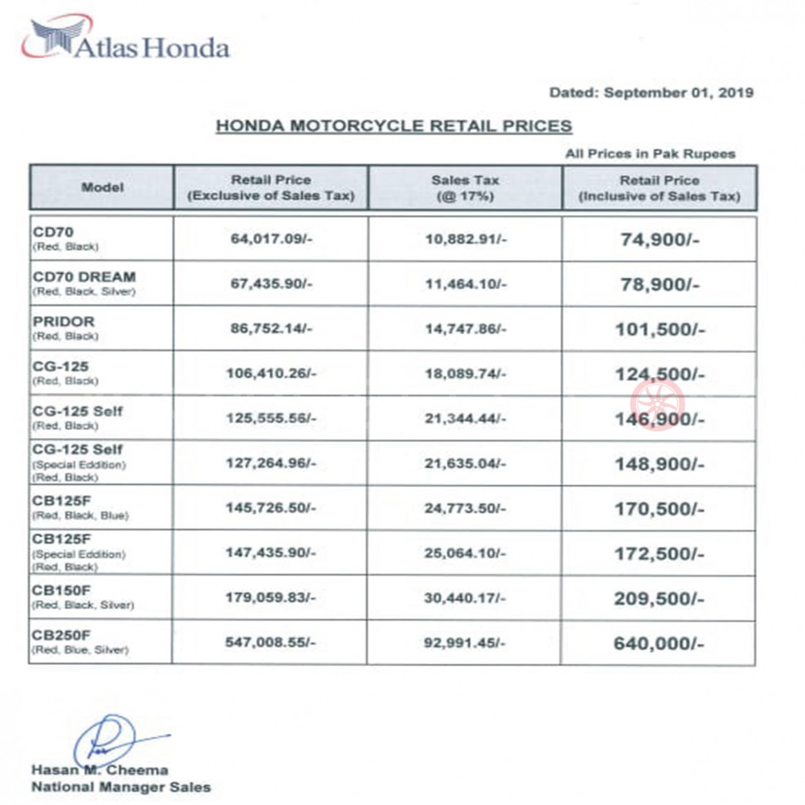 Atlas Honda increases the prices of its bikes for September 9 ..