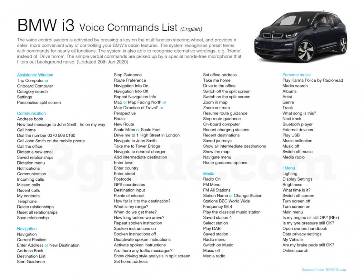 """BMWi9 Guide on Twitter: """"Fully updated BMWi9 voice commands (9 ..."""