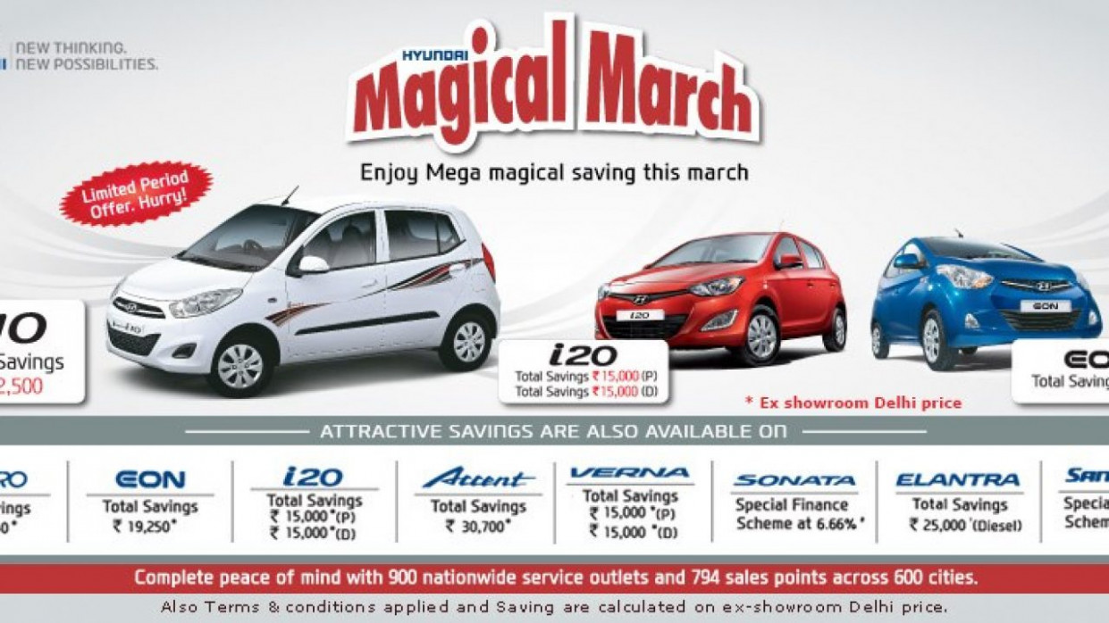 Discounts of Upto Rs 9 on i9 & All Hyundai Cars Listed