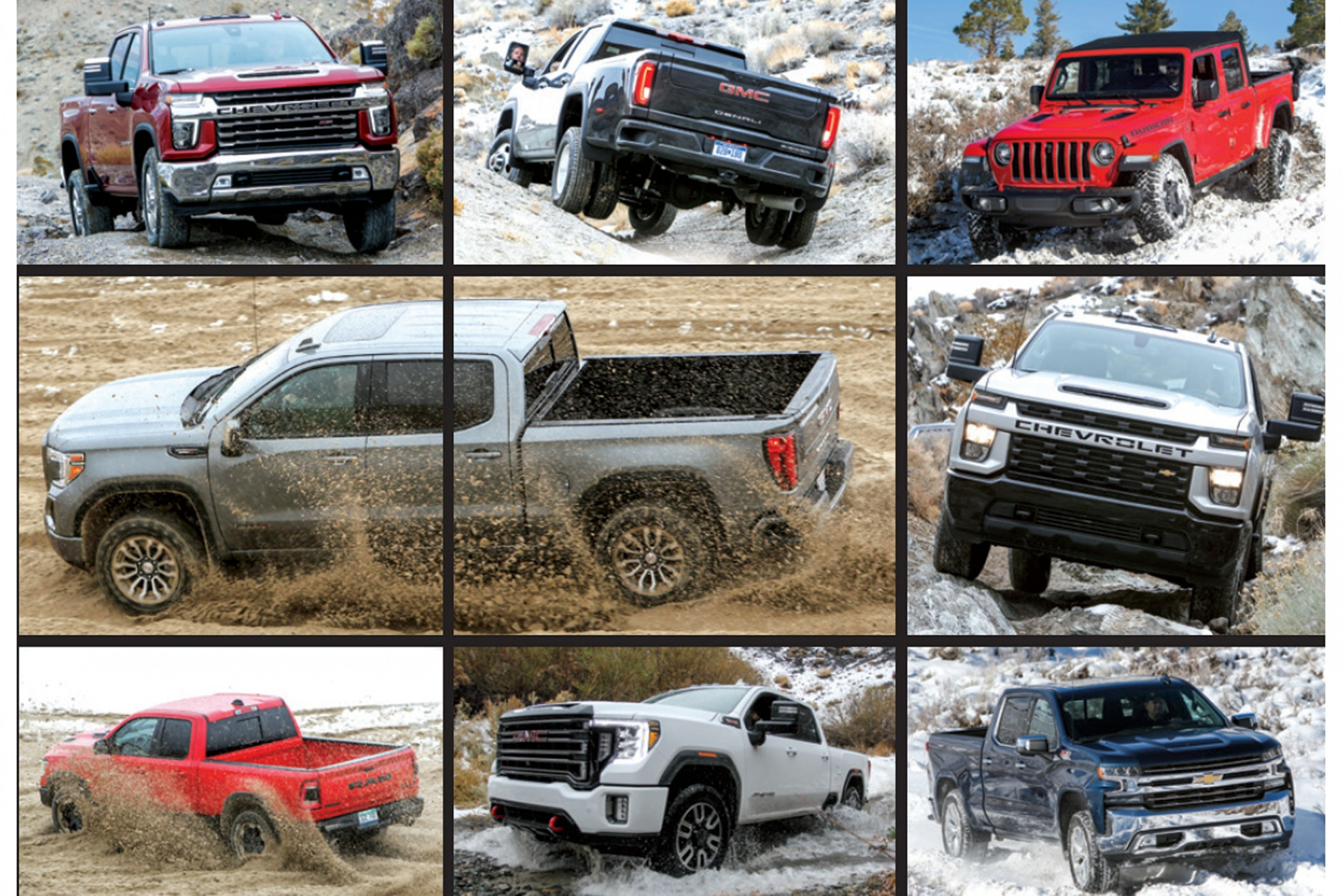 Four Wheeler 11 Pickup Truck of the Year: Chevy vs. Ram vs. Jeep ...