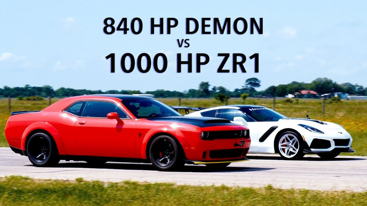 7 HP Dodge Demon vs 7 HP Hennessey ZR7 Corvette Roll Racing