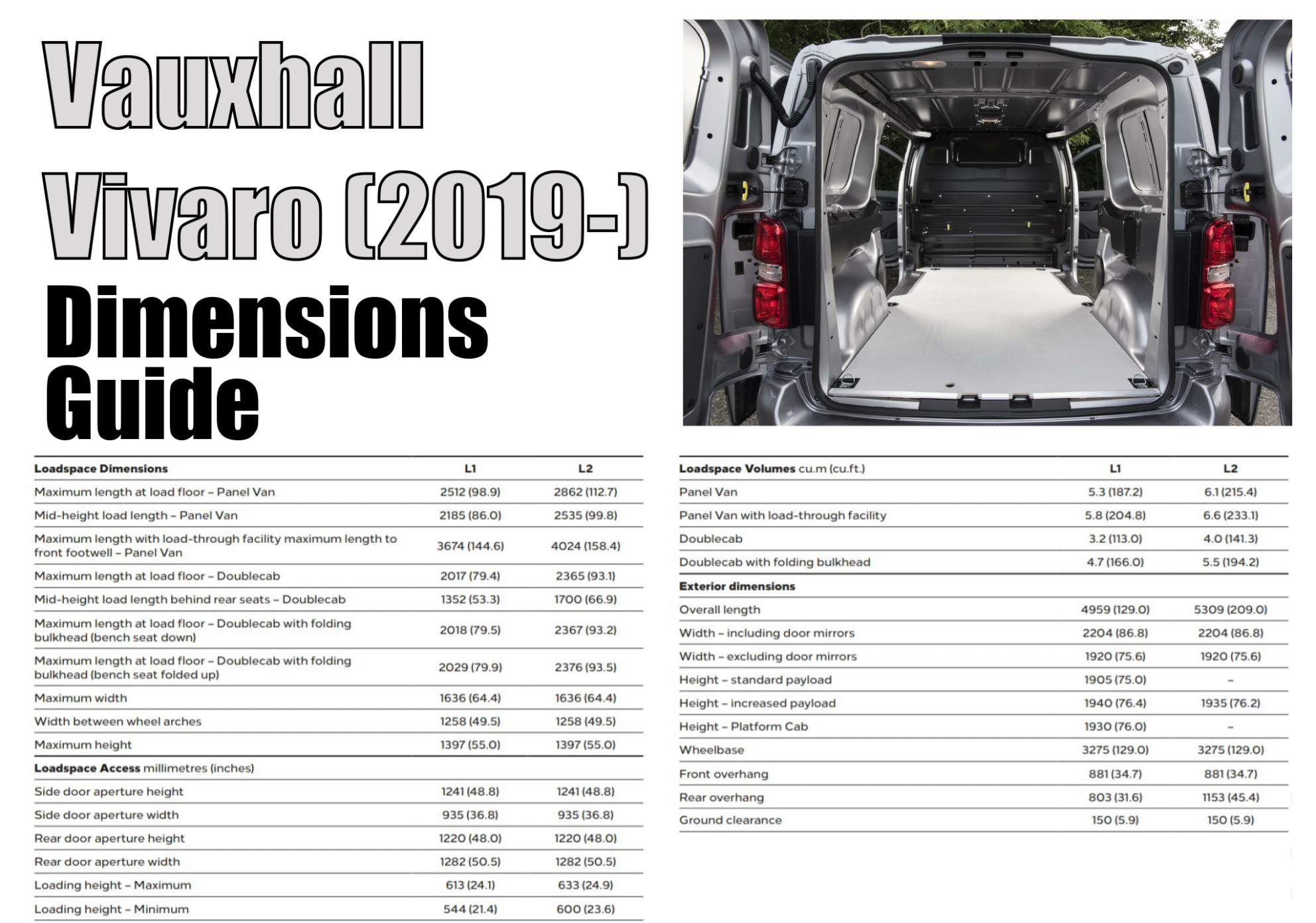Vauxhall Vivaro Dimensions - Exterior and Interior | VanGuide.co