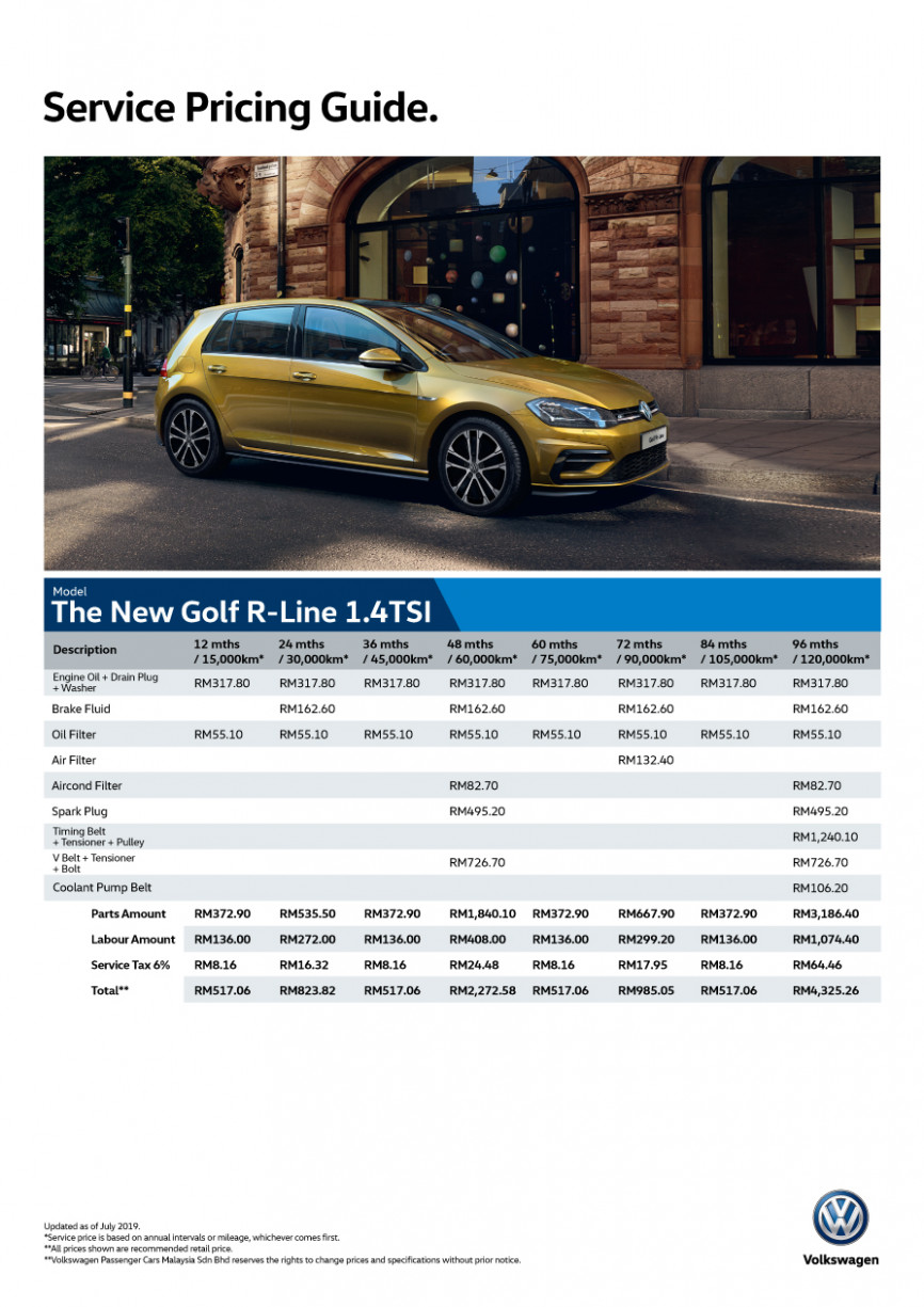 VW Golf Service Pricing | Maintenance Schedule | Volkswagen Malaysia