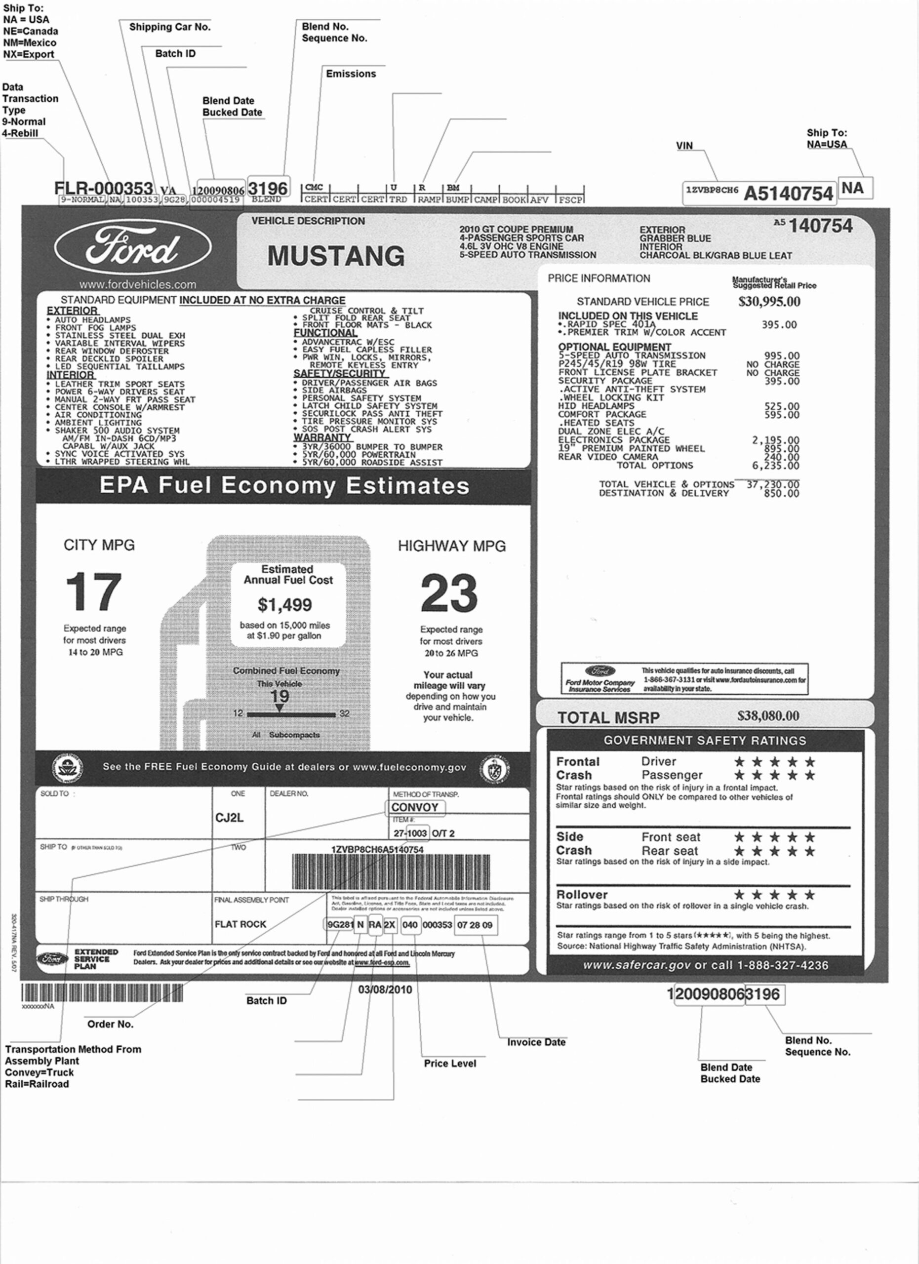 Window Sticker and Vin Info - The Mustang Source - Ford Mustang Forums - ford window sticker lookup 2020
