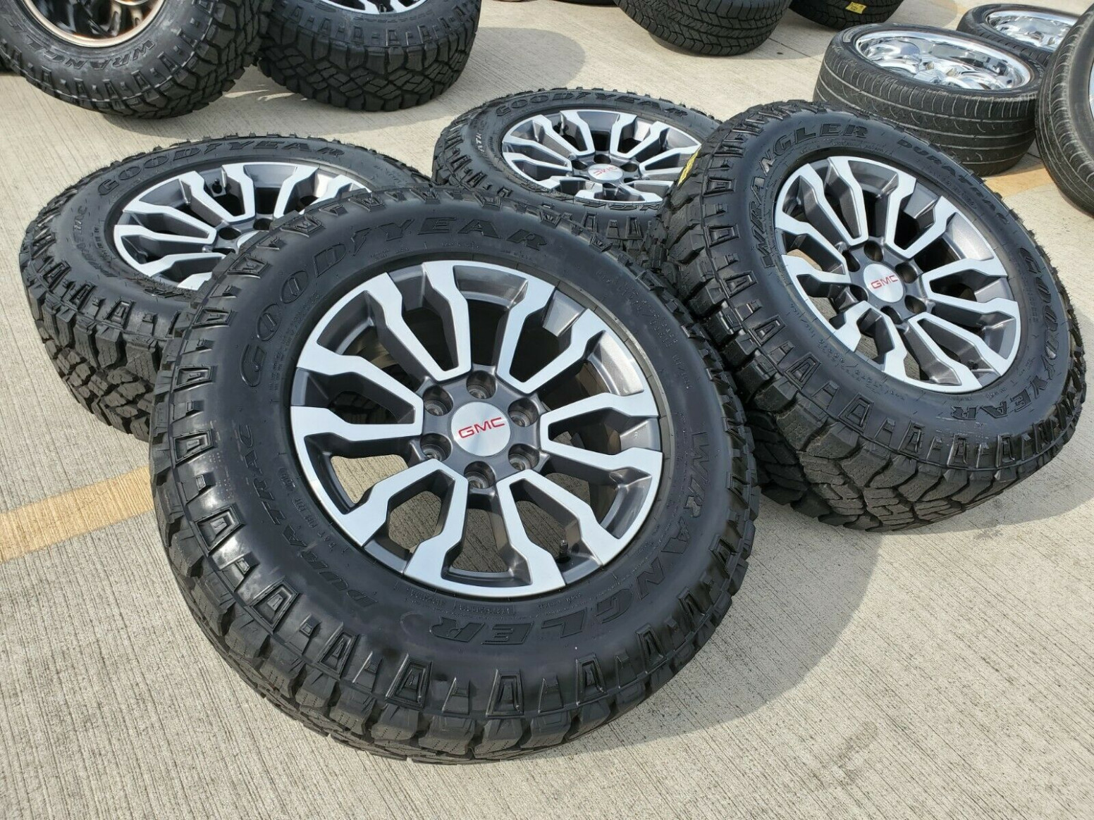 "6"" GMC Sierra / Chevy Silverado 6/6 OEM AT6 rims and tires"