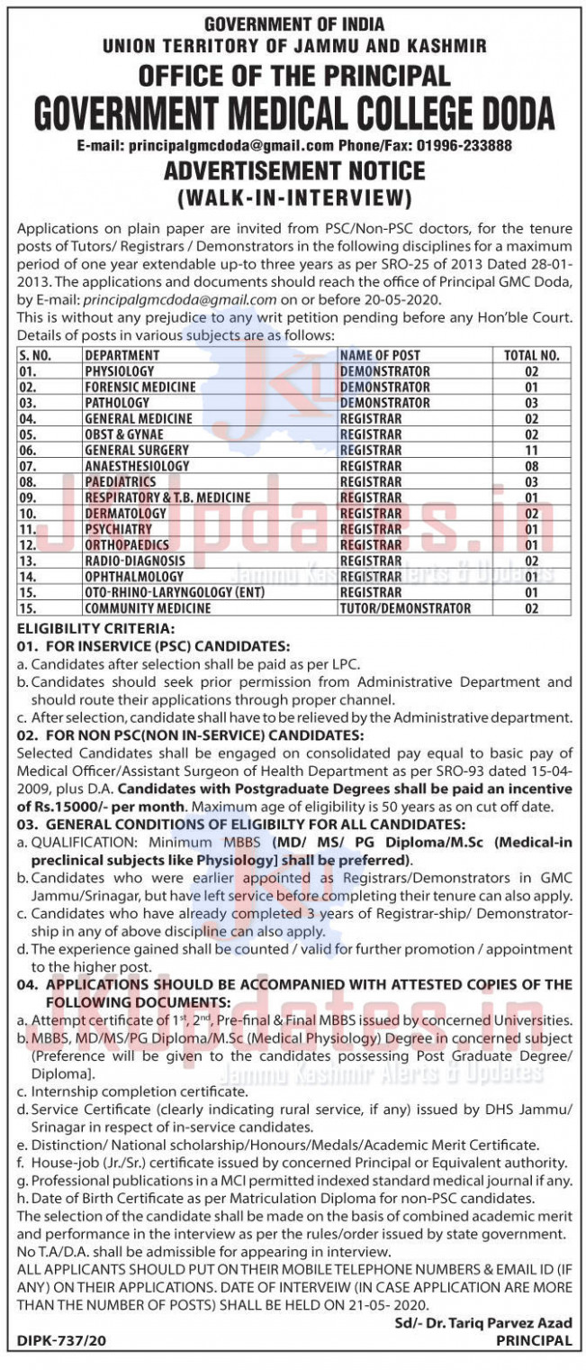 Govt Medical College Doda Recruitment for 6 Various Posts ..