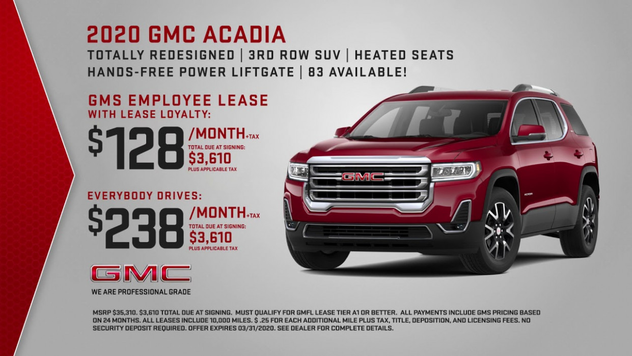 March 6 - GMC Lease Specials - gmc lease deals 2020