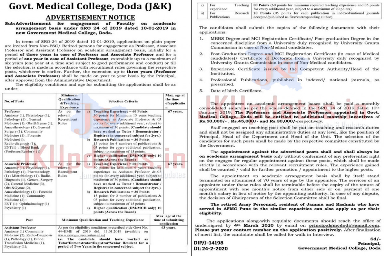 New Govt Medical College GMC Recruitment 6 | Government Jobs ...